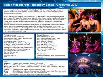 Italian Masquerade - Billericay Essex ... - Christmas Parties