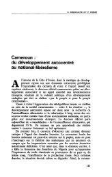 Cameroun : du développement autocentré au ... - Politique Africaine