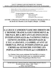 LA LIGUE CAMEROUNAISE DES DROITS DE L'HOMME TRAINE le ...