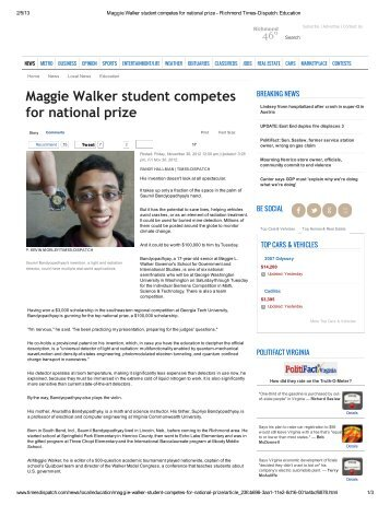 Maggie Walker student competes for national prize - VCU Office of ...