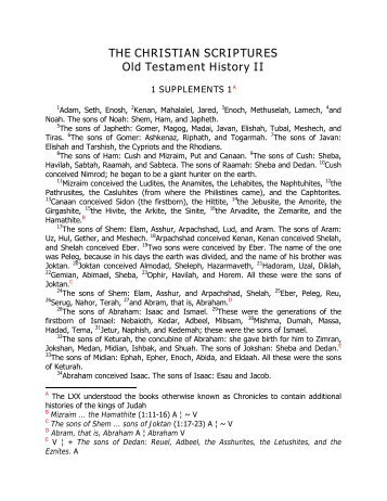 THE CHRISTIAN SCRIPTURES Old Testament History II - Angelfire