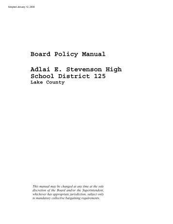 Board Policy Manual Adlai E. Stevenson High School District 125