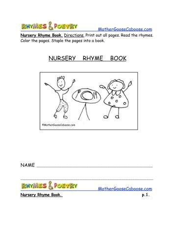NURSERY RHYME BOOK - Mother Goose Caboose
