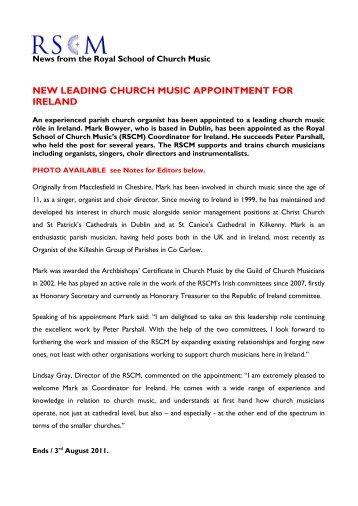 New RSCM Coordinator for Ireland announced - The Royal School ...