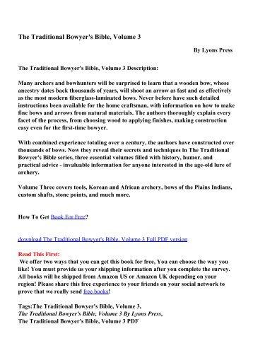 Traditional Bowyer Bible Volume 3 Pdf