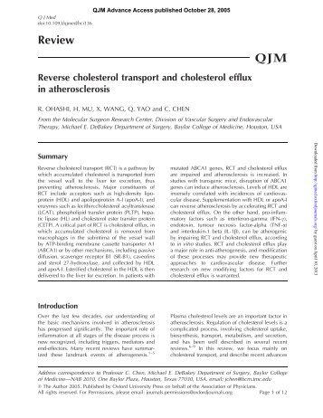 Reverse cholesterol transport and cholesterol efflux in atherosclerosis