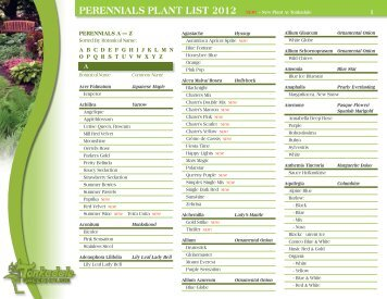 PEREnniALS PLAnT LiST 2012 - Tonkadale Greenhouse