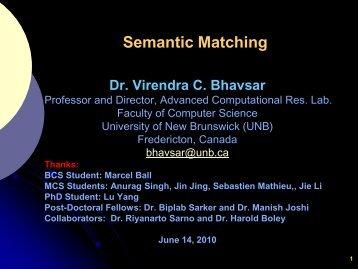 Semantic Matching - University of New Brunswick