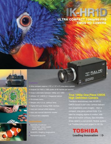 True 1080p One-Piece CMOS High Definition Camera. - Toshiba