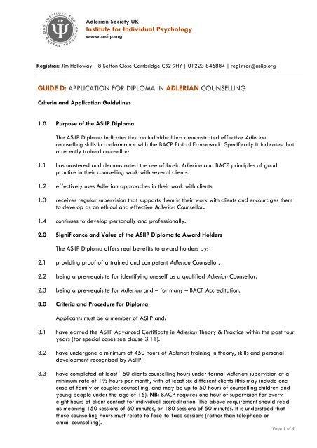 Diploma in Adlerian Counselling - Adlerian Society UK