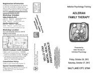 Adlerian Psychology Training AdLERIAN FAMILY THERAPY