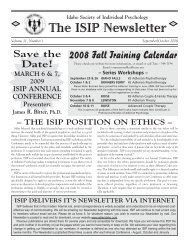 The ISIP Newsletter - Idaho Society of Individual Psychology