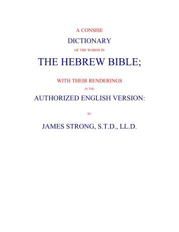 Strong's Hebrew Dictionary - Christ Bible Church