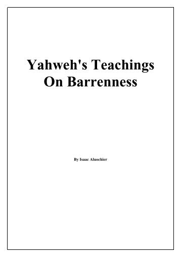 Yahweh's Teachings On Barrenness - Servants of Yahweh