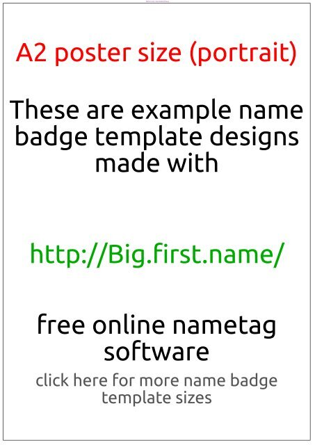 Badge Template A2 Poster Size Portrait Name Badge Software