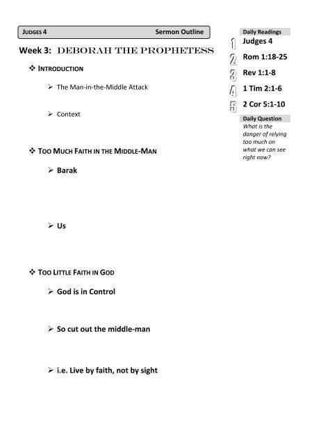 Sermon Outline Outline - St James, Croydon