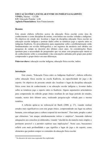 Educação Física Escolar entre os Indígenas Kadiwéu - ANPEd