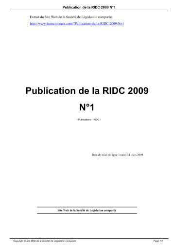 Publication de la RIDC 2009 N°1 - Société de législation comparée