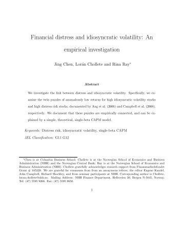 Financial distress and idiosyncratic volatility: An ... - loranchollete.com