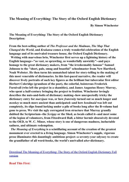 The Meaning of Everything: The Story of the Oxford English