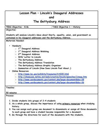 Persuasion In Historical Context The Gettysburg Address Lesson Plan