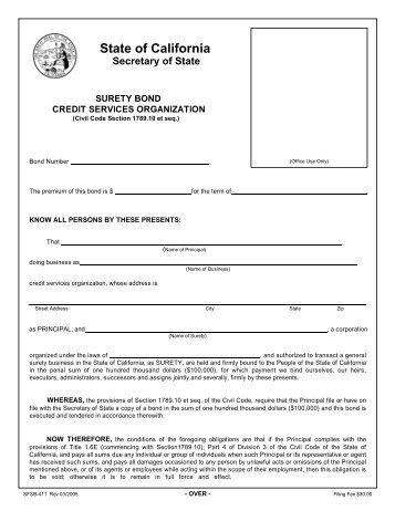 Form #006 SCP, Service Contract Provider Surety Bond - Texas ...