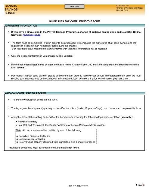 direct deposit form canada  Change of Address and Direct Deposit Form and Guidelines (COADD)