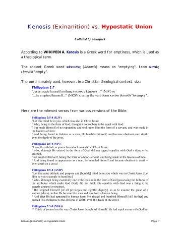 Kenosis (Exinanition) vs. Hypostatic Union - Paul Quek's Website