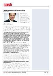 Kurzfristige Hypotheken am meisten betroffen - Trafina Privatbank AG