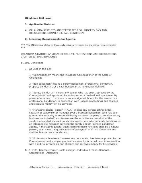 Oklahoma Bail Laws 1. Applicable Statutes. - AIA Bail Bond Surety