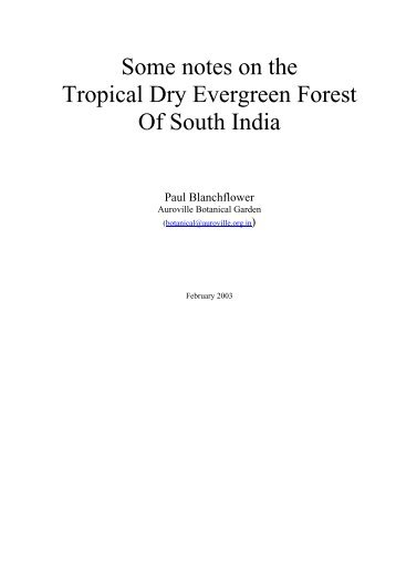 Some notes on the Tropical Dry Evergreen Forest Of South India