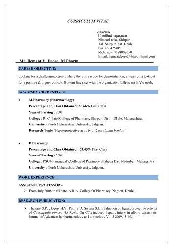 Mr. Deore Hemant Vinayak - aracop.dcsdhule.org