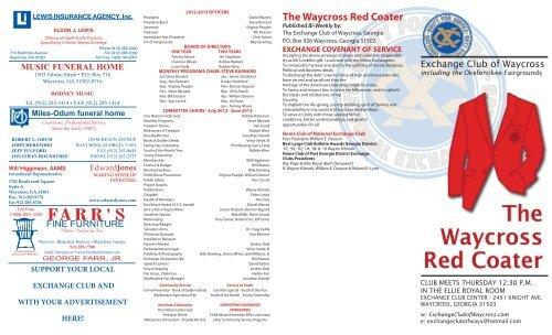 The Waycross Red Coater Exchange Club Of Waycross