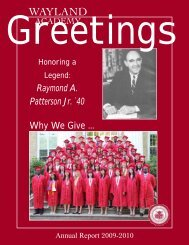 2009-2010 Annual Report - Wayland Academy