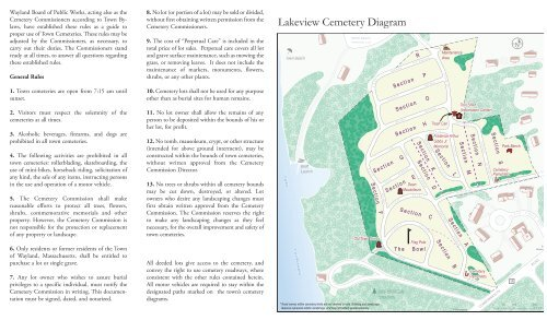 lake view cemetery map Lakeview Cemetery Diagram Town Of Wayland lake view cemetery map