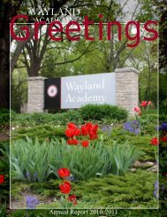 2010-2011 Annual Report - Wayland Academy