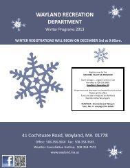 WAYLAND RECREATION DEPARTMENT - Town of Wayland