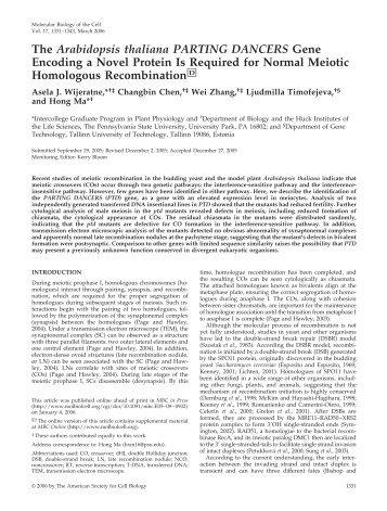 The Arabidopsis thaliana PARTING DANCERS Gene Encoding a ...