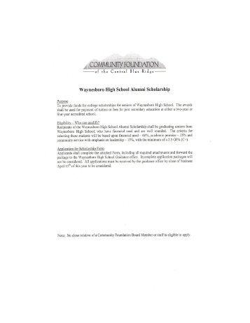 Waynesboro High School Alumni Scholarship - Waynesboro Public ...