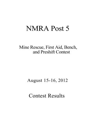 MSHA - Coal Mine Rescue Contests 2012 - NMRA Post 5