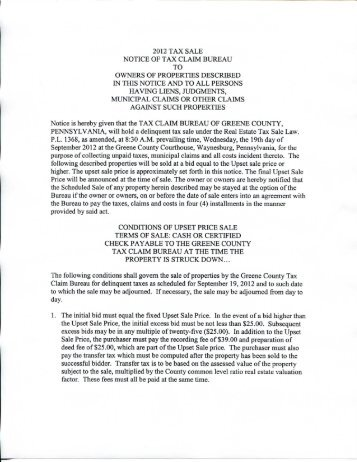 Notice of tax claim bureau to owners of - Greene County