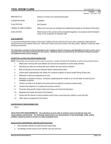 Position Title: Clerk-SASI/Office - Abbeville County School District