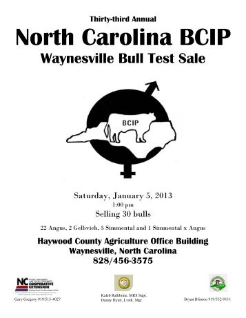 Waynesville Bull Sale Catalog - College of Agriculture and Life ...
