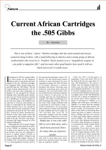 Current African Cartridges the .505 Gibbs Current ... - HuntNetwork
