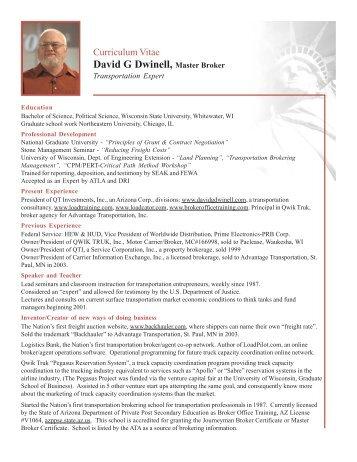 David G Dwinell, Master Broker - JVRA