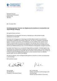 Stellungnahme - Transparency International Schweiz