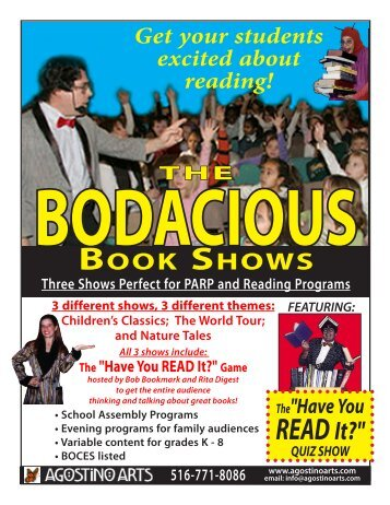 Bodacious Book Shows School Assemblies — pdf flyer - Agostino Arts