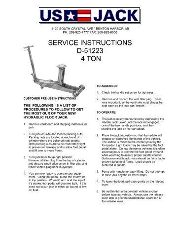 D 51224 10 Ton Instruction Weaver Pub Us Jack