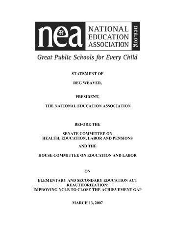 reg weaver - US Senate Committee on Health, Education, Labor ...