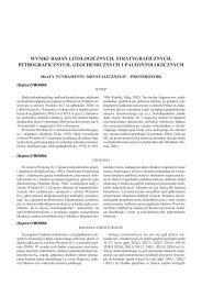 Wyniki badań litologicznych, stratygraficznych, petrograficznych ...